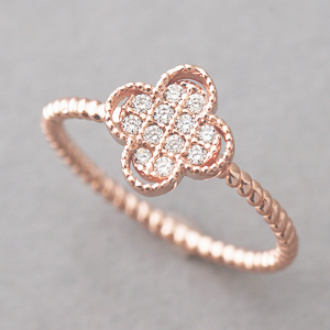 CZ Rose Gold Clover Ring Sterling Silver Four Leaf Clover Ring on