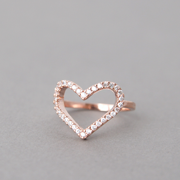 CZ Rose Gold Heart Ring US 5 6 6 5 7 5 8 5 on Luulla