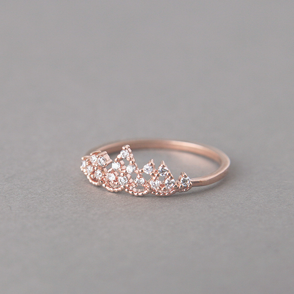CZ Rose Gold Tiara Ring US 6 on Luulla