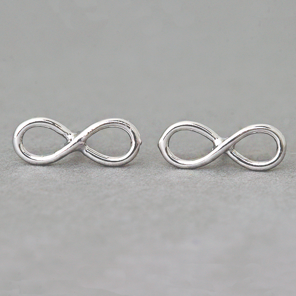 White Gold Infinity Earrings Studs