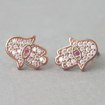 Ruby Evil Eye Hamsa Earrings Stud Rose Gold