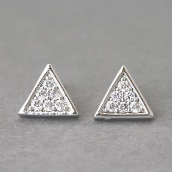 Swarovski Triangle Earrings Stud White Gold